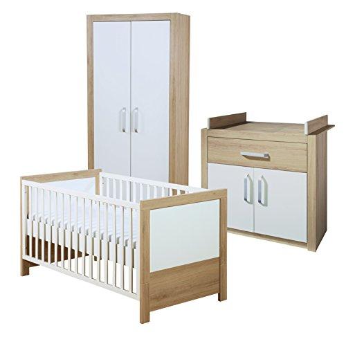 roba Komplett-Kinderzimmer 'Lousia', Babyzimmer Set weiß/span, Eiche mit Baby- bzw. Kinderbett 70x140 cm, Wickelkommode & Kleiderschrank -