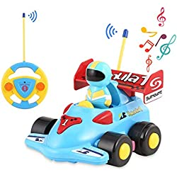 OCDAY Voiture Télécommandée 2 Canaux RC Voiture de Course Jouets avec Musique et Lumières Cadeau pour Bébés et Enfants (F1 Voiture)