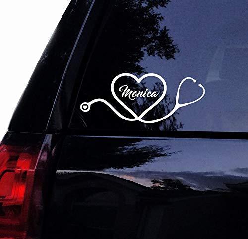 Celycasy Aufkleber für Krankenschwester, Arzt, personalisiertes Stethoskop, Herz mit Name, Stillen, RN LPN MD, Vinyl, Auto-Aufkleber, Laptop, Autofenster -