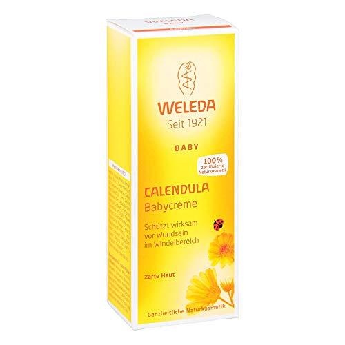 WELEDA Calendula Babycreme, Wundsalbe Für Den Schutz Empfindlicher Babyhaut Im Windelbereich, Hilft Bei Rötungen, Gereizter Haut Und Wundsein (1 x 75ml)