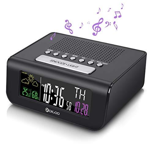 Radiowecker, DIGOO Digital Wecker Uhrenradio FM Radio Funkwecker alarm clock mit Thermo-Hygrometer, Sleep-Timer Radio/Clock wake up Batteriebetrieben ohne ticken, Schwarz