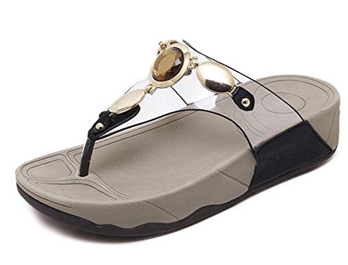 YEEY Sandali donna estate infradito Flat infradito t-strap pantofole strass t-strap Bohemia romana sandali Black