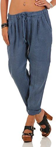 Leinen Locker (malito Damen Hose aus Leinen | Stoffhose in Unifarben | Freizeithose für den Strand | Chino - Jogginghose 6816 (blau, M))