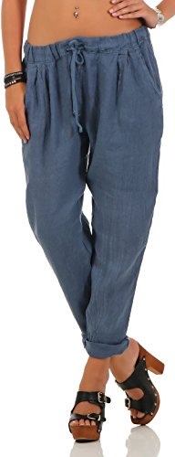 Malito Damen Hose aus Leinen | Stoffhose in Unifarben | Freizeithose für Den Strand | Chino - Jogginghose 6816