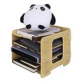 Briefablage Holz Schreibtischorganizer Dokumentenablage mit 4 Einlegeböden Schreibtisch Ablagesystem Aufbewahrungsbox Papierablage für Büro