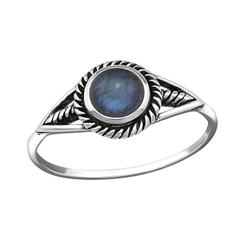Gemaholique Sterling Silver 7mm Genuine Labradorite Bezel Setting Cabochon Ring (N 1/2)