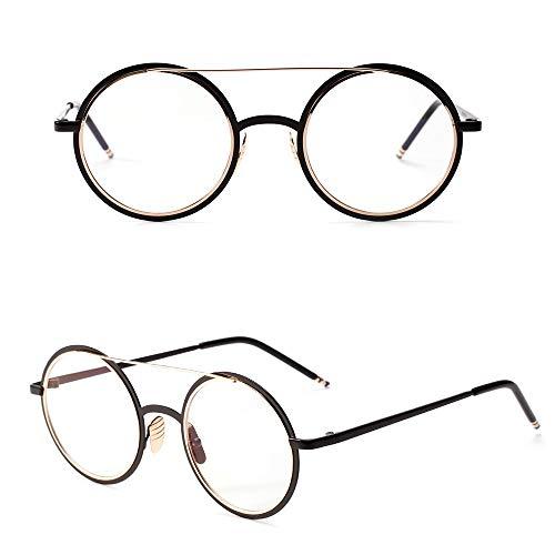 WULE-RYP Polarisierte Sonnenbrille mit UV-Schutz Mode Runde Brille Doppel Emaille Metall Optiacl Brille, klare Linse für Frauen und Männer. Superleichtes Rahmen-Fischen, das Golf fährt (Farbe : Gold)