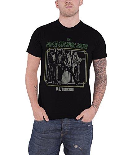 Alice Cooper USA Tour 1971 poster offiziell Herren Nue Schwarz T Shirt (Neue Konzert-tour-t-shirt Das)