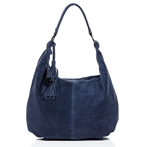 BACCINI large hobo bag - shoulder bag SELINA with frings - women`s leather bag with long shoulder strap blue leather