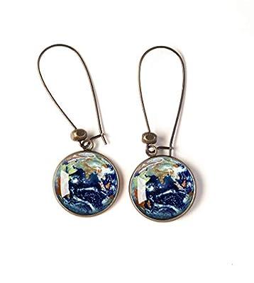 Boucles d'oreilles cabochon, La Planète Terre, Earth, Univers, bleue, vert