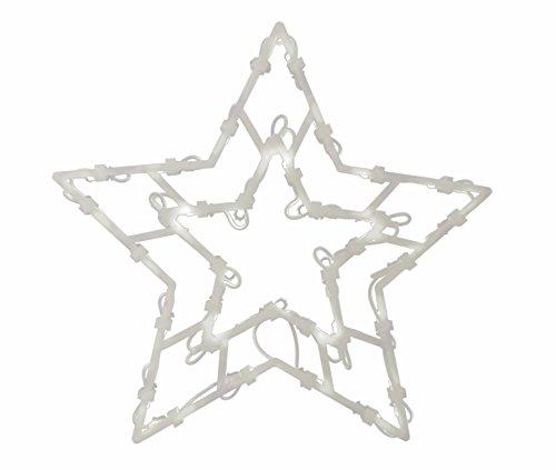 * Leuchtendes Fensterbild mit 35 LEDs | Fünf Motive: Engel Baum Rentier Stern Sternschnuppe | Netzanschluss + Saugnapf | Fensterdeko Weihnachtsdeko Weihnachtsleuchte (Stern)