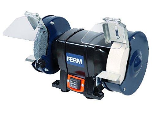 elektrischer schleifstein FERM Doppelschleifmaschine 250W - 150mm - Incl. P36 und P60 Schleifsteinen, Schutzbrille und Funkenfänger