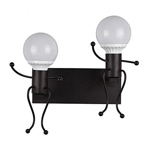 (SUHANG Wandlampe Stilvolle Und Schöne Person Wandleuchten Off Road Leuchten Schlafzimmer Zimmer Kleinen Nachttisch Wandlampen Für Kinder Spiegel Vordere Scheinwerfer, Schwarz Doppel)
