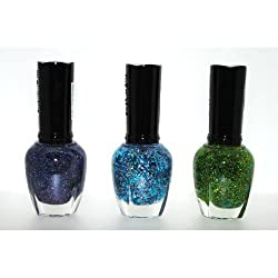 Glitter Element 3 Piece Color Nail Lacquer Combo Set -Holo Chrome Peaceful Heart Starry Blue