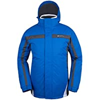 Mountain Warehouse Chaqueta de esquí Dusk para hombre - Chubasquero resistente al agua, forro de felpa, abrigo con faldón antinieve para hombre, puños y capucha ajustables