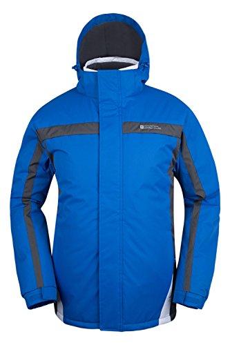Mountain Warehouse Dusk Skijacke für Herren - Wasserbeständig, Fleecefutter, Schneerock, Kapuze und Bündchen zum Verstellen - Ideale Skibekleidung im Winter Blau XXX-Large -