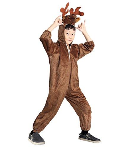 An74 Taglia 4-5A (104-110cm) Costume da Cervo Renna per bambini, indossabile comodamente sui vestiti normali