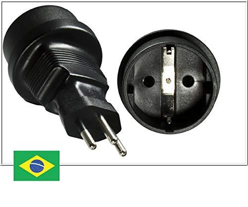 DINIC Reisestecker, Stromadapter für Brasilien auf Schutzkontakt-Buchse, 3-Pin Netzadapter (1 Stück, schwarz) (Typ-n-stecker-adapter)