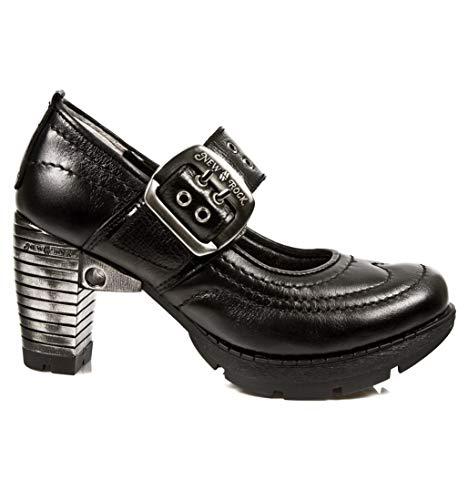 New Rock M.TR012-S1 Schuhe Stiefeletten Damen Mädchen Leder Schwarz Ferse Punk Heavy Gotik
