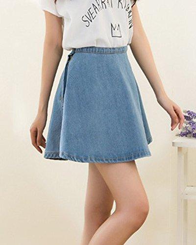 Damen Mini Rock Jeansrock Retro A-Linie Denim Kurz Röcke Skirt Hellblau