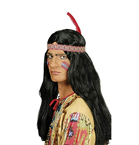 Indianer Winnetou Perücke für Herren mit Feder Stirnband - zum Wilder Westen Kostüm