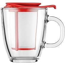Bodum Yo-Yo Set - Tetera individual, 0,35 l, taza de cristal, filtro y tapa plástico, color rojo