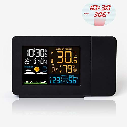d07772b57 AOZBZ Stazione Meteo Wireless Termometro Home Igrometro Proiezione Stazione  Meteo Indoor Outdoor Previsioni Sensore Orologio Orologio
