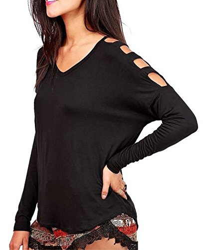 Damen Fashion Casual Blusen Oberteile Hemdblusen Langarmshirt V-Ausschnitt Langärmlig Schulterfrei Normallacks Top Schwarz