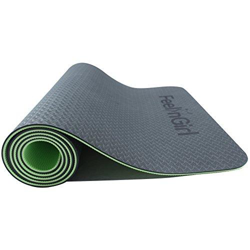 FeelinGirl Tapis de Yoga Antidérapant avec Sac et Sangle 6mm Ultra-Epais en Mousse Confort Haute Densité Vert