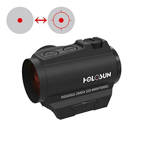 Holosun HS503G-U Microdot Rotpunktvisier mit wechselbarem 2MOA Punkt, 65MOA Kreis Absehen, schwarz, Picatinny/Weaver Schiene, Jagd, Sportschießen, Softair, Tactical Micro red dot Sight - 70127324