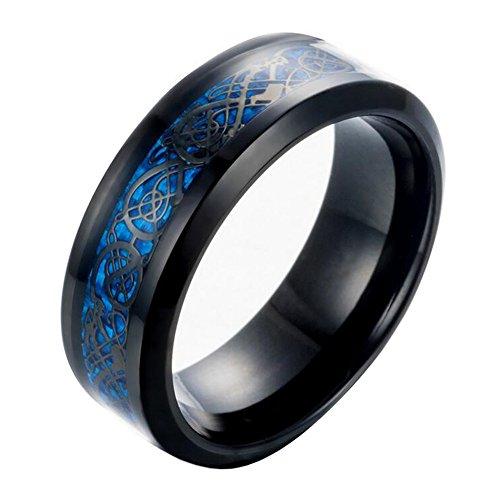 HIJOJES Hombre Acero Inoxidable Celta Dragón Azul De Fibra De Carbono Negro Anillo De Boda 8MM Tamaño 25