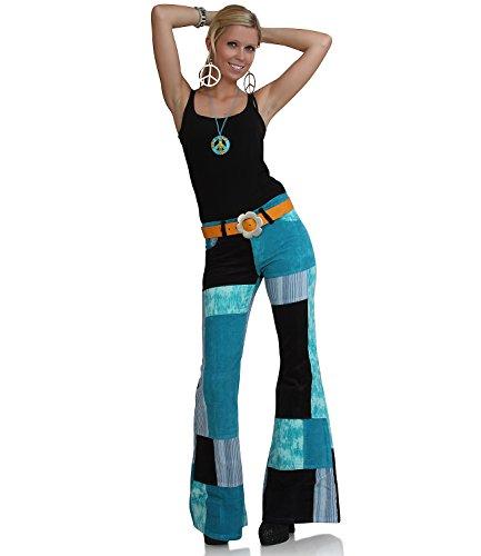 Hippie Goa Patchwork Damen Cordschlaghose türkis Türkis