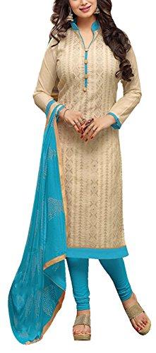 Applecreation Women's Chanderi Dress Material (DRD49016_Cream)