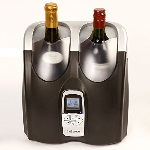 Dual Zone Wein Kühlschrank (Hostess hw02mb Twin Flasche Wein Kühlschrank mit LCD-Anzeige der Temperatur in stilvollen Schwarz & Silber Finish)