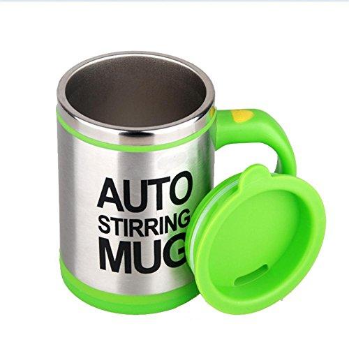 QLL Botella de Agua Self Stirring Mug - Tazas de Desayuno Auto-removible, Color Negro y Plateado 270ML...