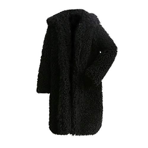 IZHH Damen Mantel Frauen Winter Warme Dicke Mantel Feste Mantel Mantel Jacke Strickjacke Mantel Damen Winter Einfarbig Mantel(Schwarz,XX-Large (Mutter Natur Kostüm Muster)