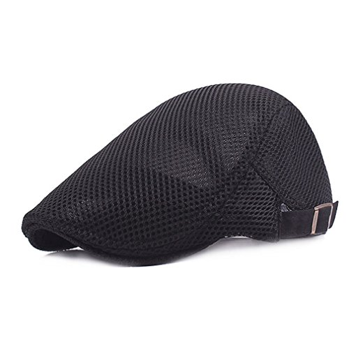 RICHTOER Men Breathable Mesh Summer hat Newsboy Beret Ivy Cap Cabbie Flat Cap (Black) (Ivy Hat)