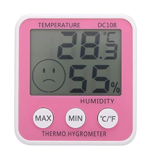 Termómetro digital Higrómetro Medidor de temperatura Humedad Interior Exterior Rosa