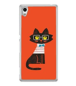 Cute Cat Clipart 2D Hard Polycarbonate Designer Back Case Cover for Sony Xperia Z3+ :: Sony Xperia Z3 Plus :: Sony Xperia Z3+ dual :: Sony Xperia Z3 Plus E6533 E6553 :: Sony Xperia Z4