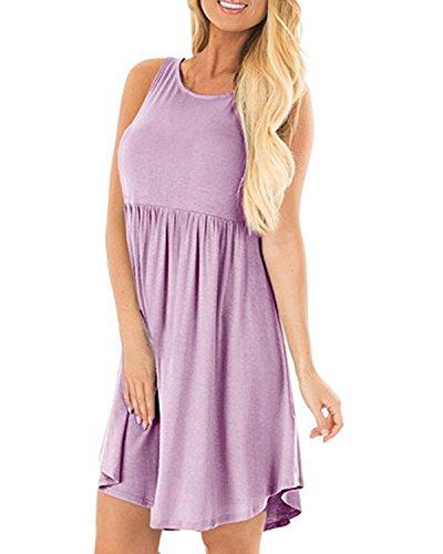 SOLERSUN Sundress for Women,Summer Sleeveless Casual Flowy Pleated Swing Empire Waist Dresses A Line Purple,S