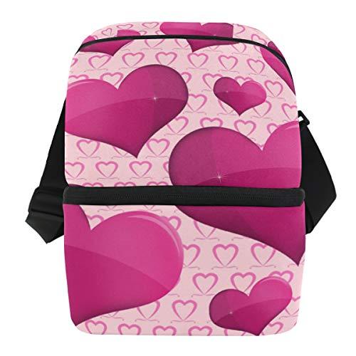 Coosun bolsa térmica para el almuerzo con diseño de corazones, lunares, aislante, impermeable, de neopreno, con cremallera, ideal para el trabajo al aire libre, viajes, picnic