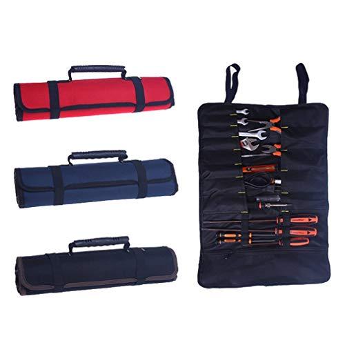 38Taschen Werkzeug Rolle Werkzeug Tasche Zange Schlüssel Tasche Mehrzweck zusammenklappen tragbar tragen Robuster Canvas Tote Elektriker Garden Tools Organizer, schwarz - Canvas Tragen