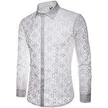 Camisa de Club Nocturno Covermason Camiseta con Punto de Lentejuelas Hueco Encaje Blanco