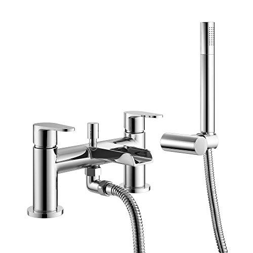 iBathUK | Luxury Waterfall Bath Filler Mixer Tap Chrome Hand Held Shower Head TB158