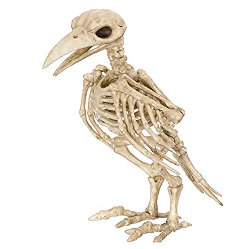 LouiseEvel215 Knochenfarbe Skelett Raven100% Kunststoff Tier Skelett Knochen für Horror Gruselige Halloween Dekoration Event & Party Supplies
