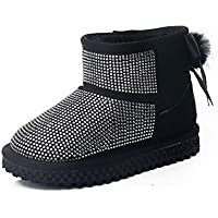 JIE Botas de Nieve para Niños Calzado de Invierno para Niños Lentejuelas para Niños Botas para la Nieve Más Chicas de Algodón Calzado de Algodón Ligero Zapatos de Moda,Negro,28