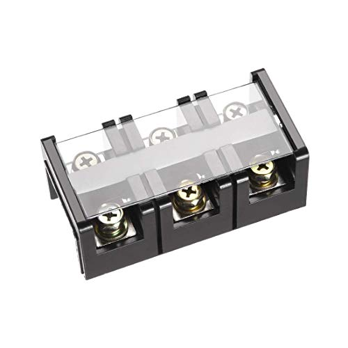 ZCHXD Barrier Terminal Block 600V 60A 3 Positions Dual Rows Screw Terminals Terminal Block, 3-position