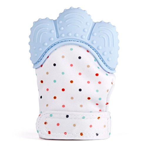 Loheag Clinor Multicolores Moufles Bébé, Gant de Mittens, Apaisante Pain Relief-Âge 3-12 Mois Protéger Bébé Mains de Sangle Réglable (Bleu)