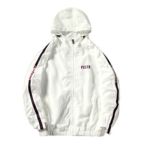 Kapuzenpullover Herren Patchwork, Holeider Hoodies Herbst Winter Reissverschluss Sweatshirt Pullover Windbreaker Mantel Lässig (M, 1-White)