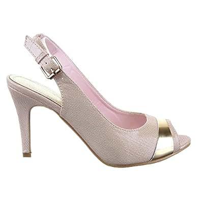 Sopily - Chaussure Mode Escarpin Sandale Stiletto Cheville femmes Métallique Talon aiguille haut talon 9 CM - Intérieur cuir - UK 7 - Rose/Or - WL-3922-1 T 40